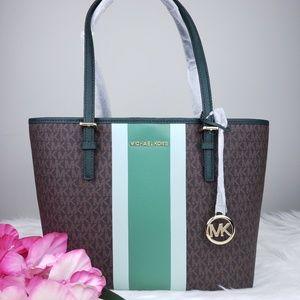 🌺NWT Michael Kors MD Carryall Tote Bag brown MK
